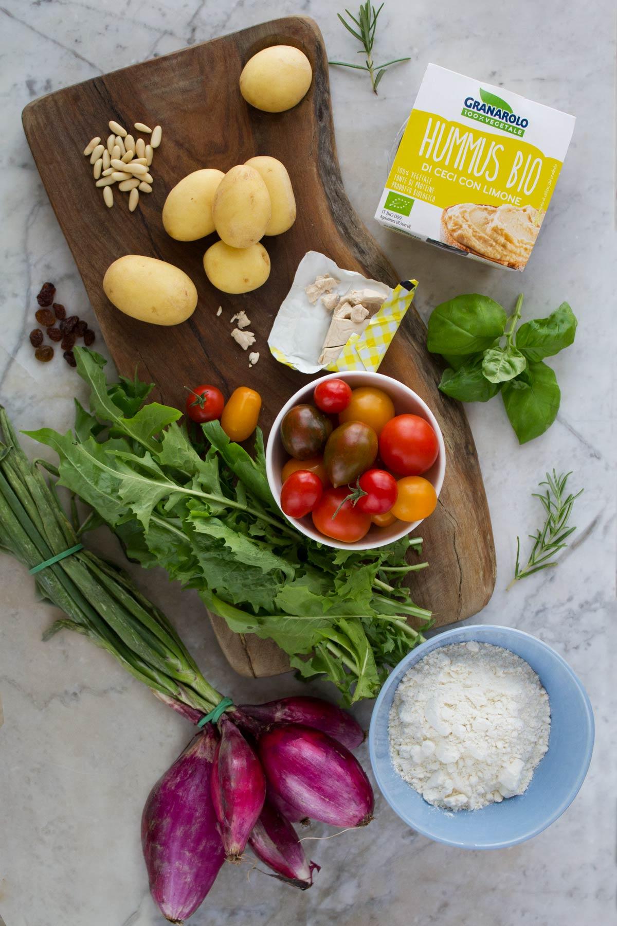 Ingredienti per la pizza hummus