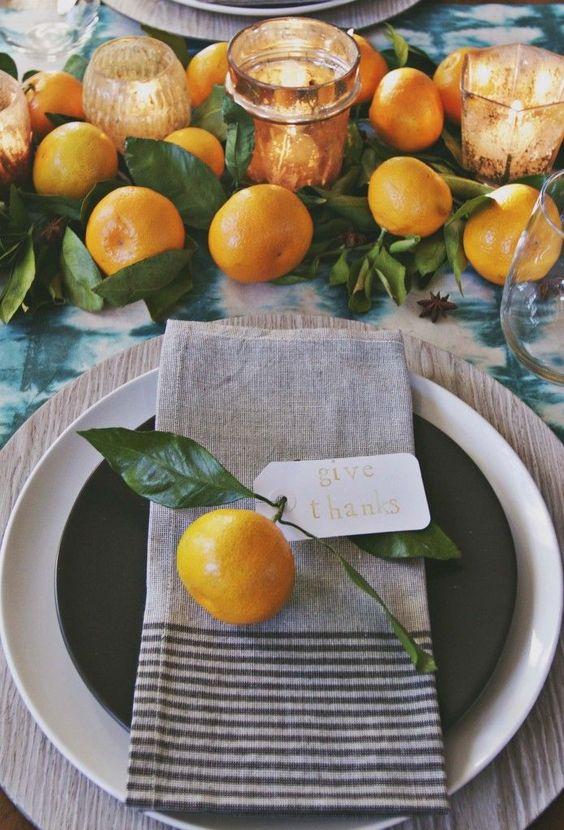 ornare la tavola con gli agrumi