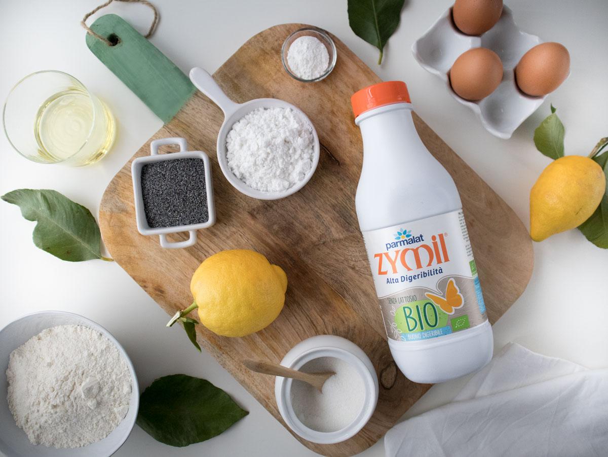 Ingredienti per il Plumcake al limone e semi di papavero.