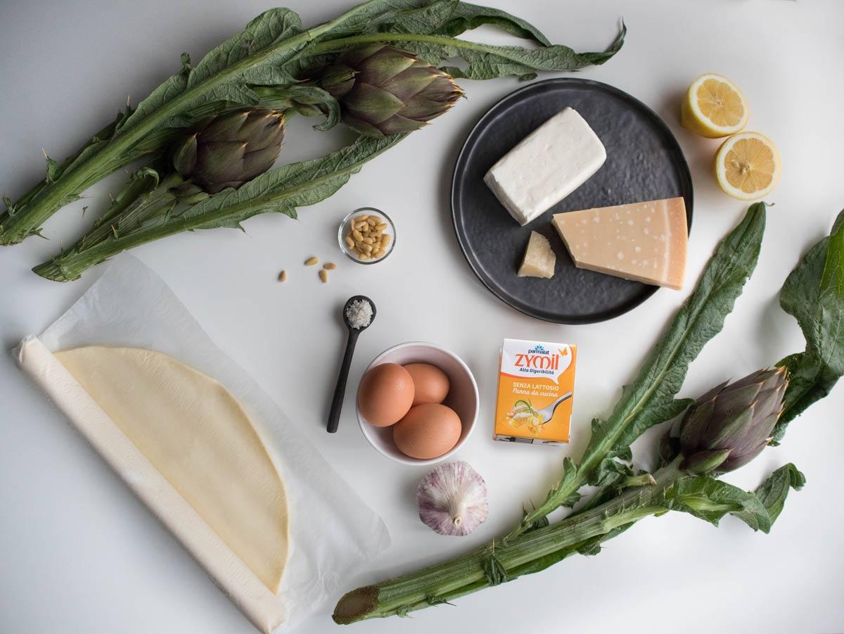 Ingredienti per la quiche di carciofi stracchino e pinoli
